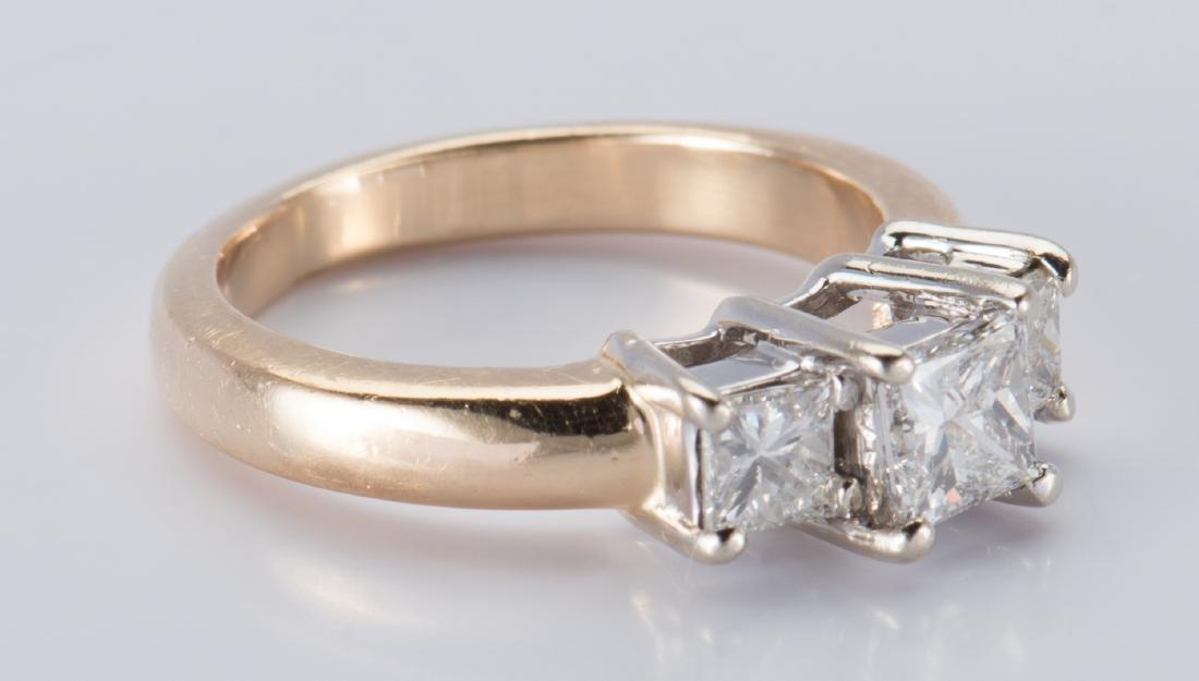 14K 3-stone Princess Diamond Ring - 8