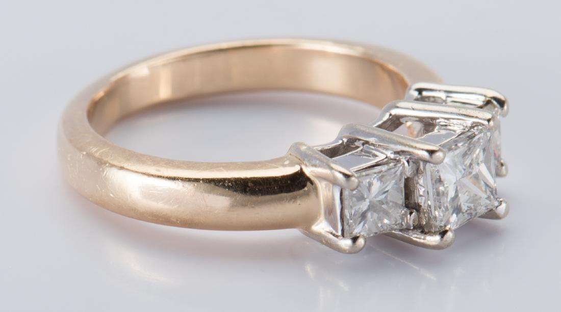 14K 3-stone Princess Diamond Ring - 9