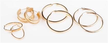 4 Pair 14K Hoop Earrings, 19.8 grams