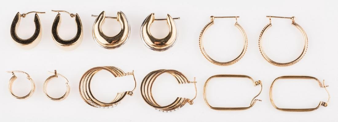 6 Pair 14K Hoop Earrings, 1 w/ Diamonds - 5