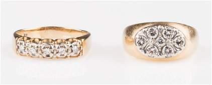 Two 14K Gents Diamond Rings