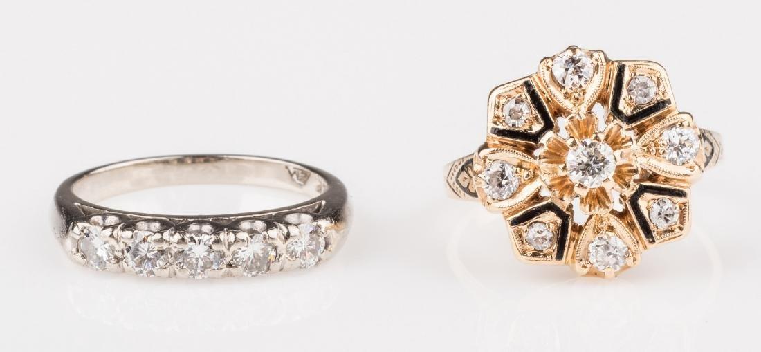 Two 14K Vintage Diamond Rings
