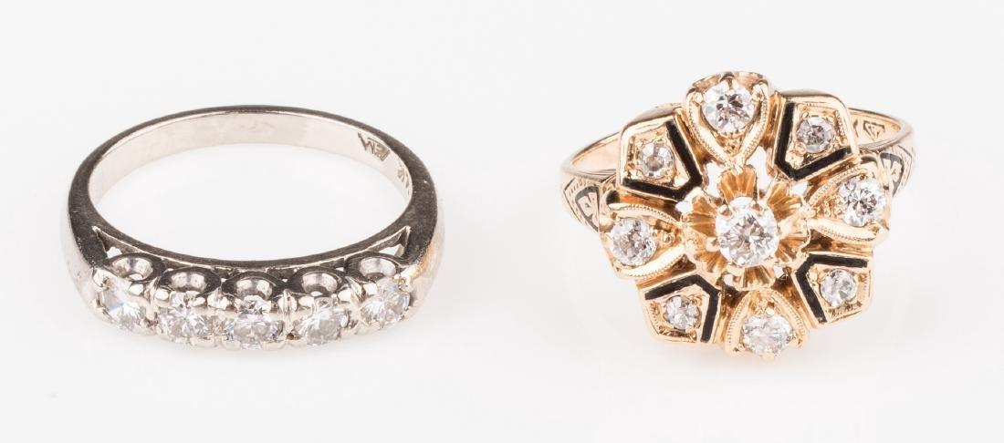 Two 14K Vintage Diamond Rings - 2
