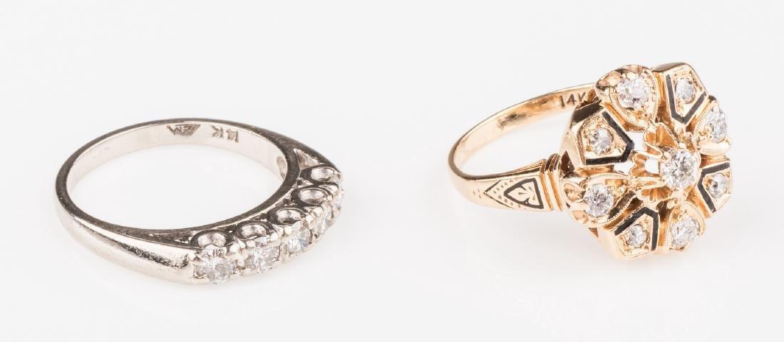 Two 14K Vintage Diamond Rings - 3