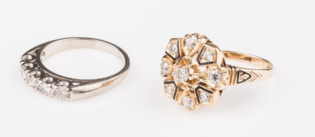 Two 14K Vintage Diamond Rings - 4