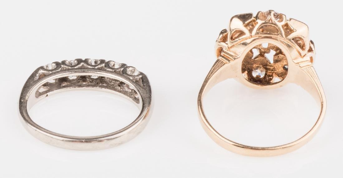 Two 14K Vintage Diamond Rings - 5