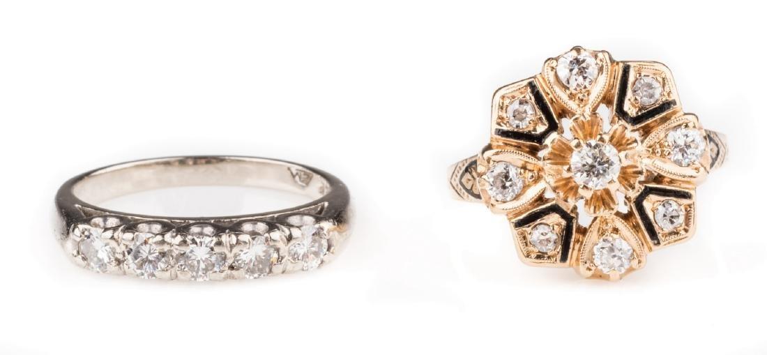 Two 14K Vintage Diamond Rings - 6