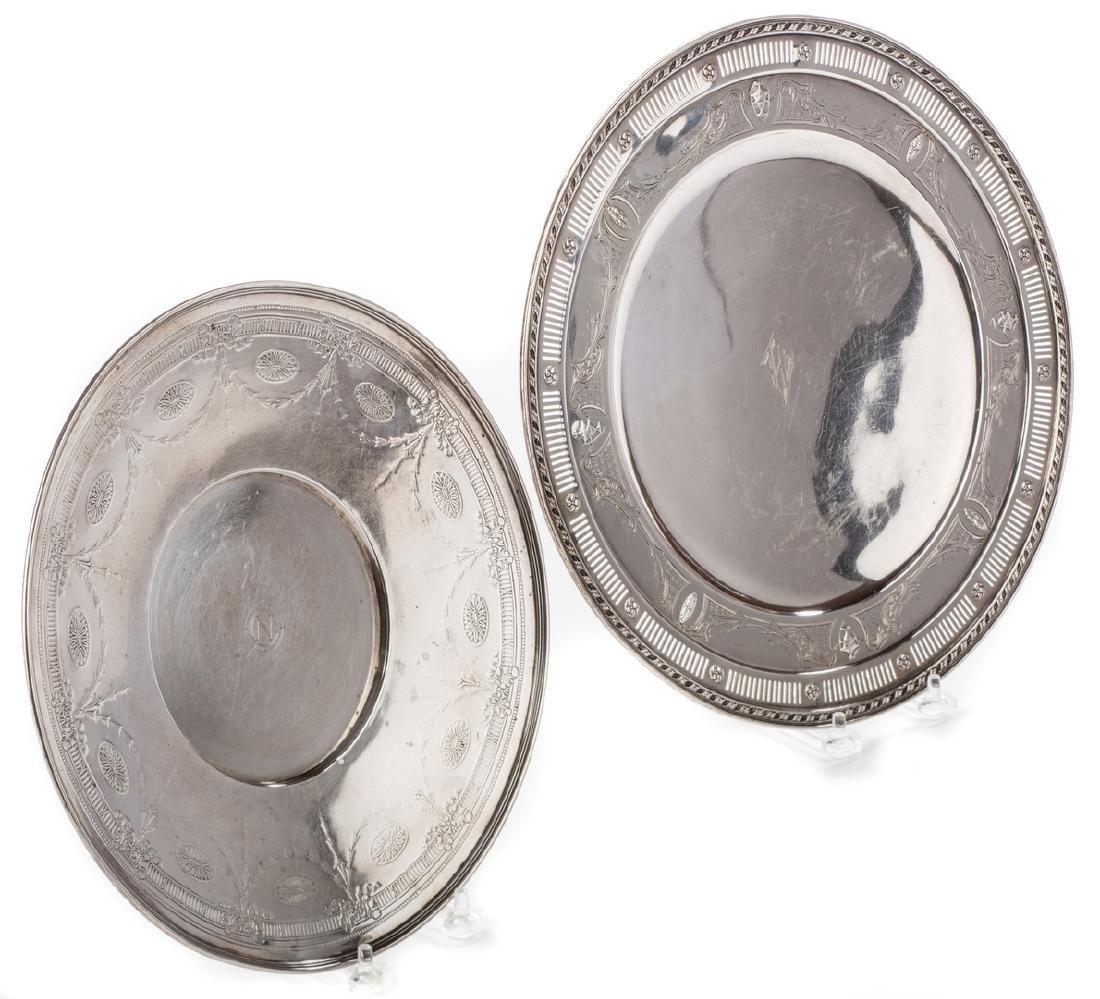 2 Sterling Serving Platters, inc. Tiffany