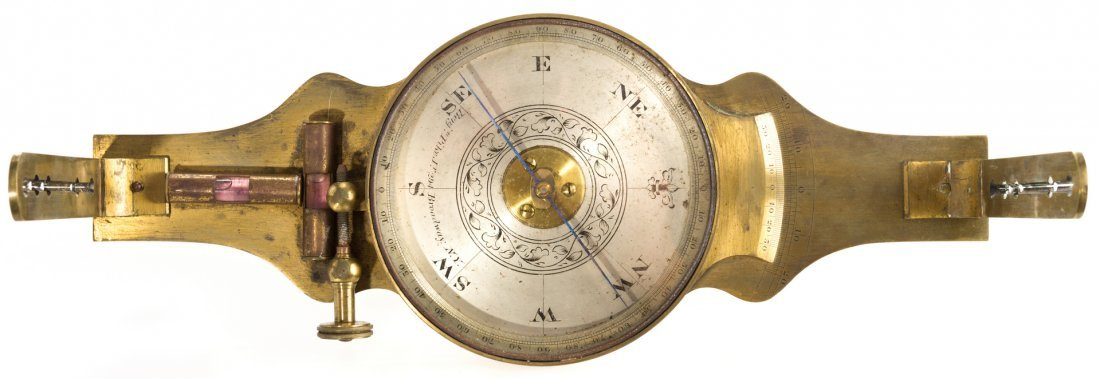 19th Cent. Brass Surveyor's Compass, Benjamin Pike