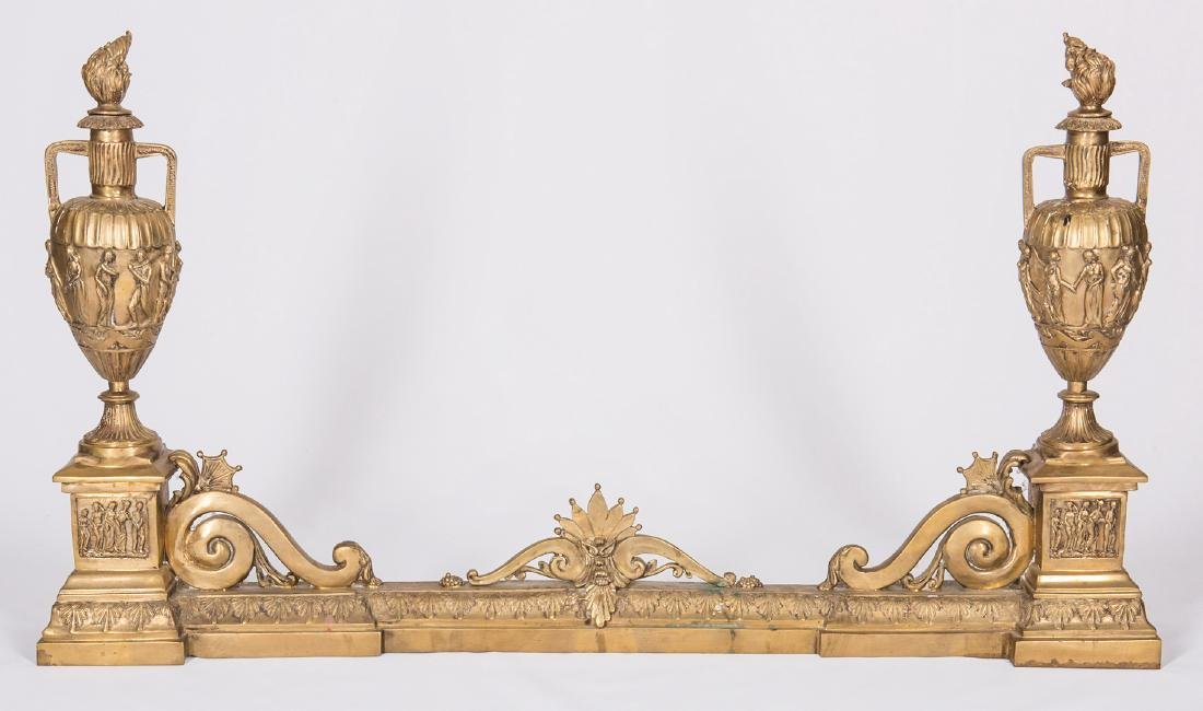 3 Brass Fireplace Fenders - 4