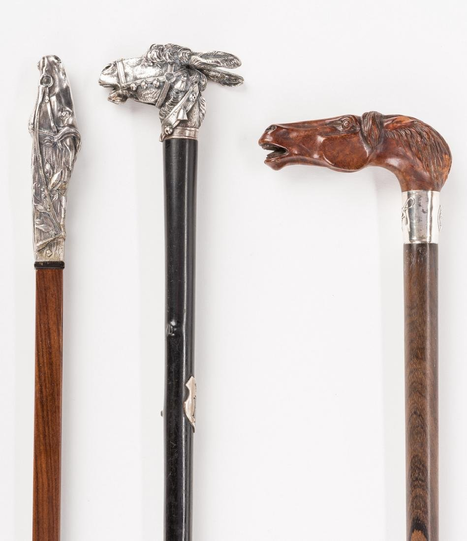 3 Equine related walking sticks - 2