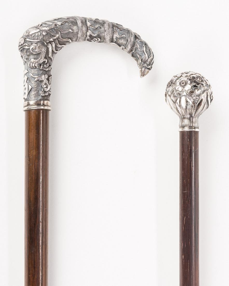 2 Asian and American Silver Walking Sticks - 2