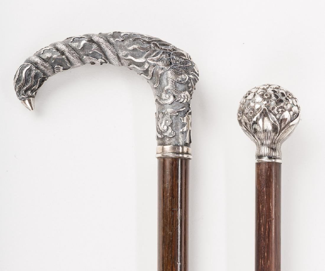 2 Asian and American Silver Walking Sticks - 3