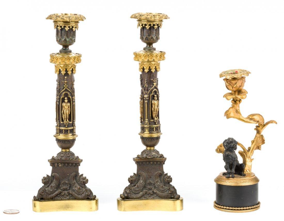 3 Parcel Bronze Candlesticks