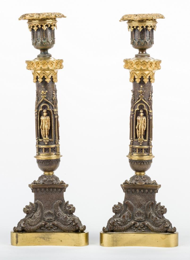 3 Parcel Bronze Candlesticks - 3