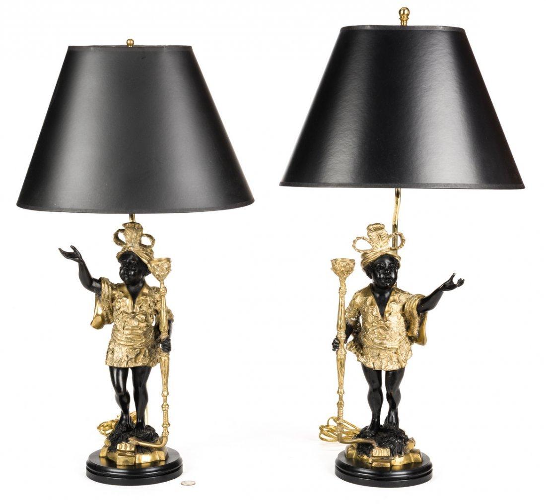 Pair Blackamoor Lamps