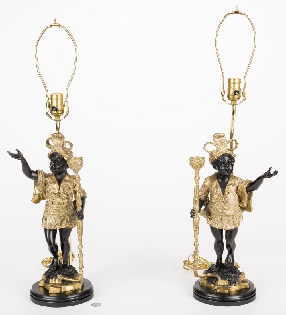 Pair Blackamoor Lamps - 3