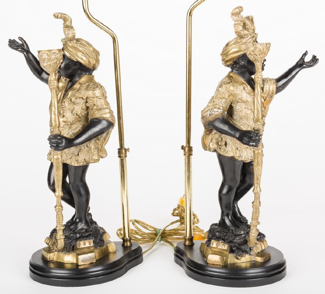 Pair Blackamoor Lamps - 4