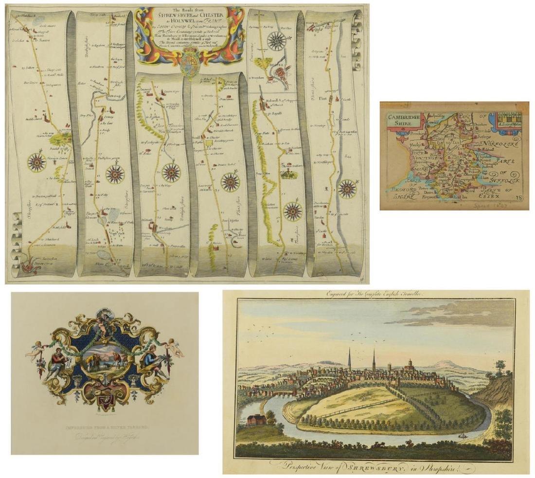 4 English Maps & Engravings