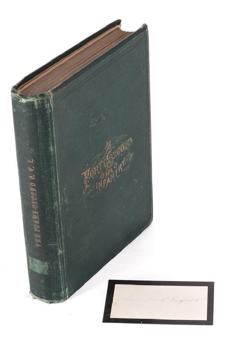 1876 Book, 42nd Ohio Infantry & Lucretia Garfield Card,