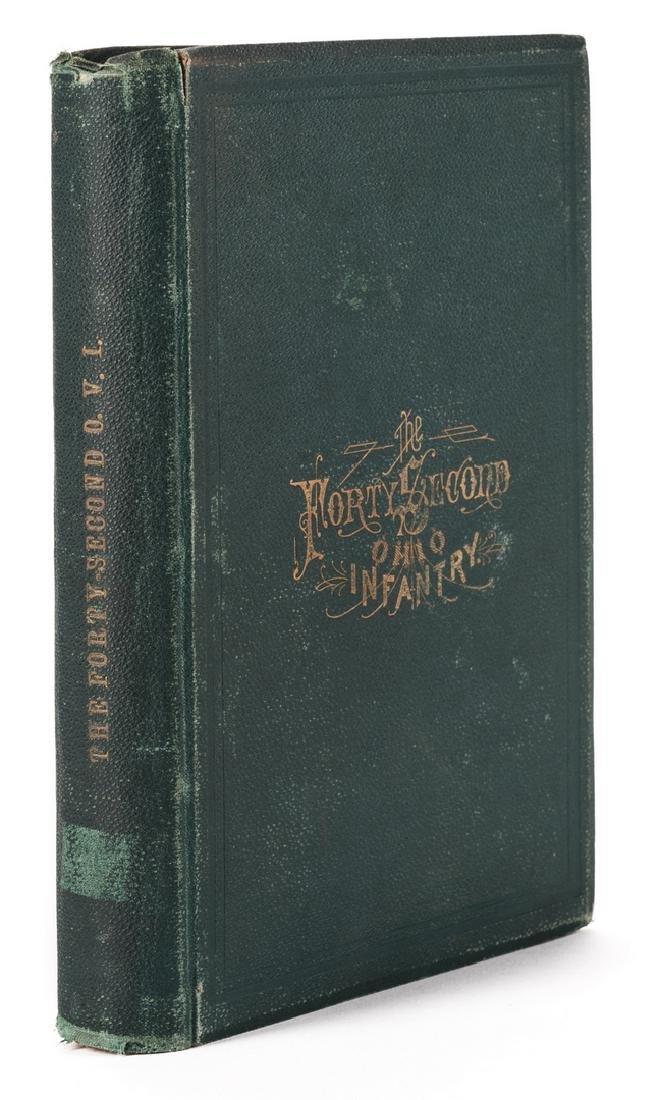 1876 Book, 42nd Ohio Infantry & Lucretia Garfield Card, - 2