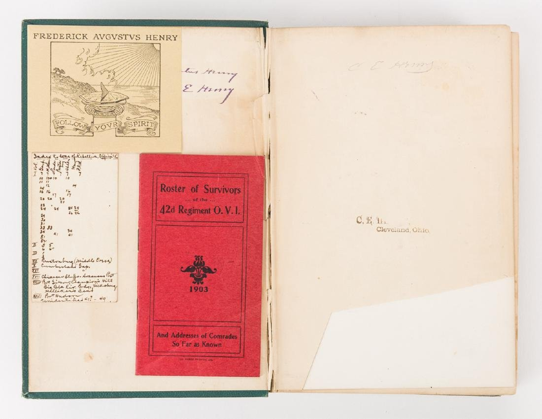 1876 Book, 42nd Ohio Infantry & Lucretia Garfield Card, - 3