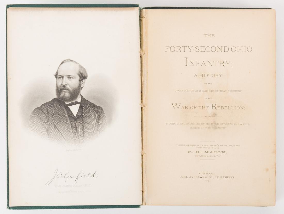 1876 Book, 42nd Ohio Infantry & Lucretia Garfield Card, - 5
