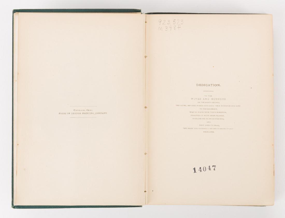 1876 Book, 42nd Ohio Infantry & Lucretia Garfield Card, - 6