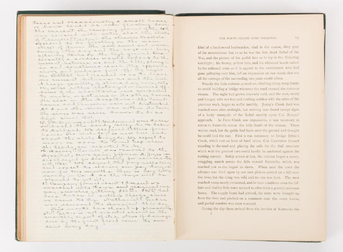 1876 Book, 42nd Ohio Infantry & Lucretia Garfield Card, - 7