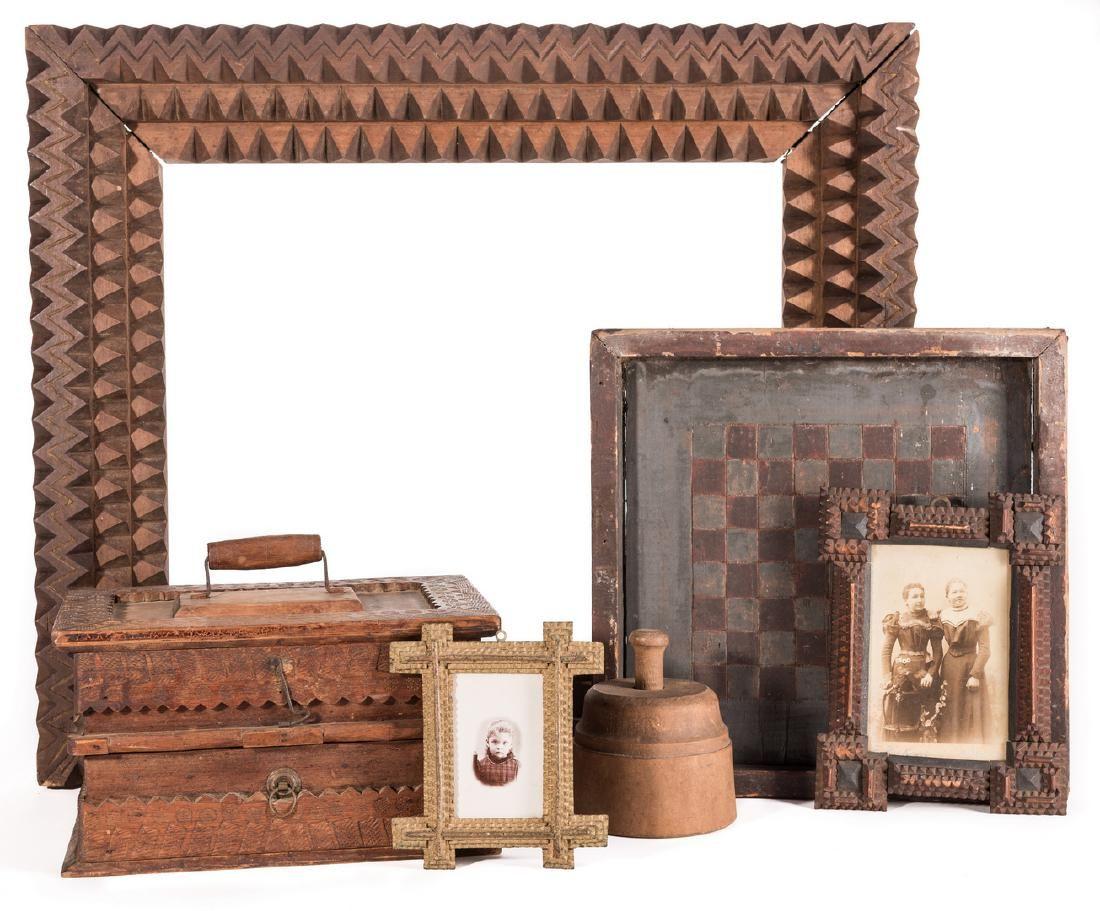 Tramp Art & Folk Art Grouping, 6 items