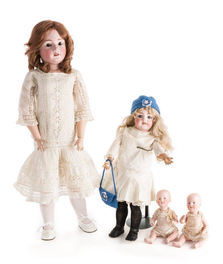 4 German Bisque Dolls, G. Heubach, S&H