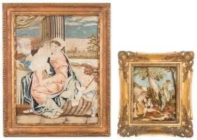 2 Victorian Needlework Scenes