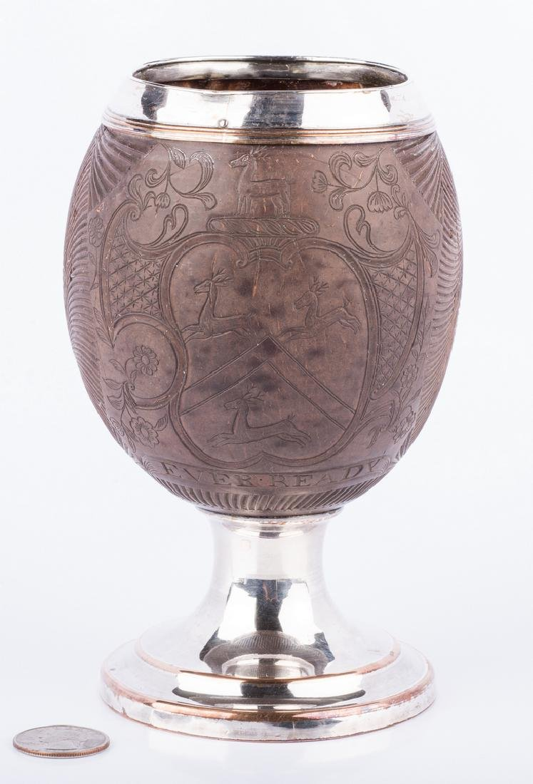 Armorial Carved Coconut Cup