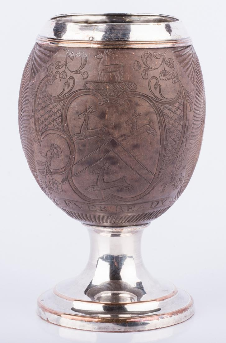 Armorial Carved Coconut Cup - 2