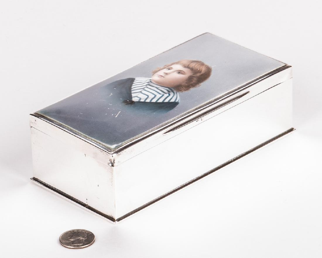 Sterling and Porcelain Child Portrait Box