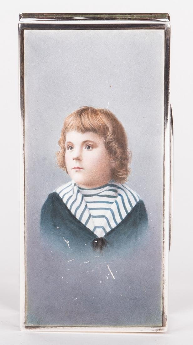 Sterling and Porcelain Child Portrait Box - 4