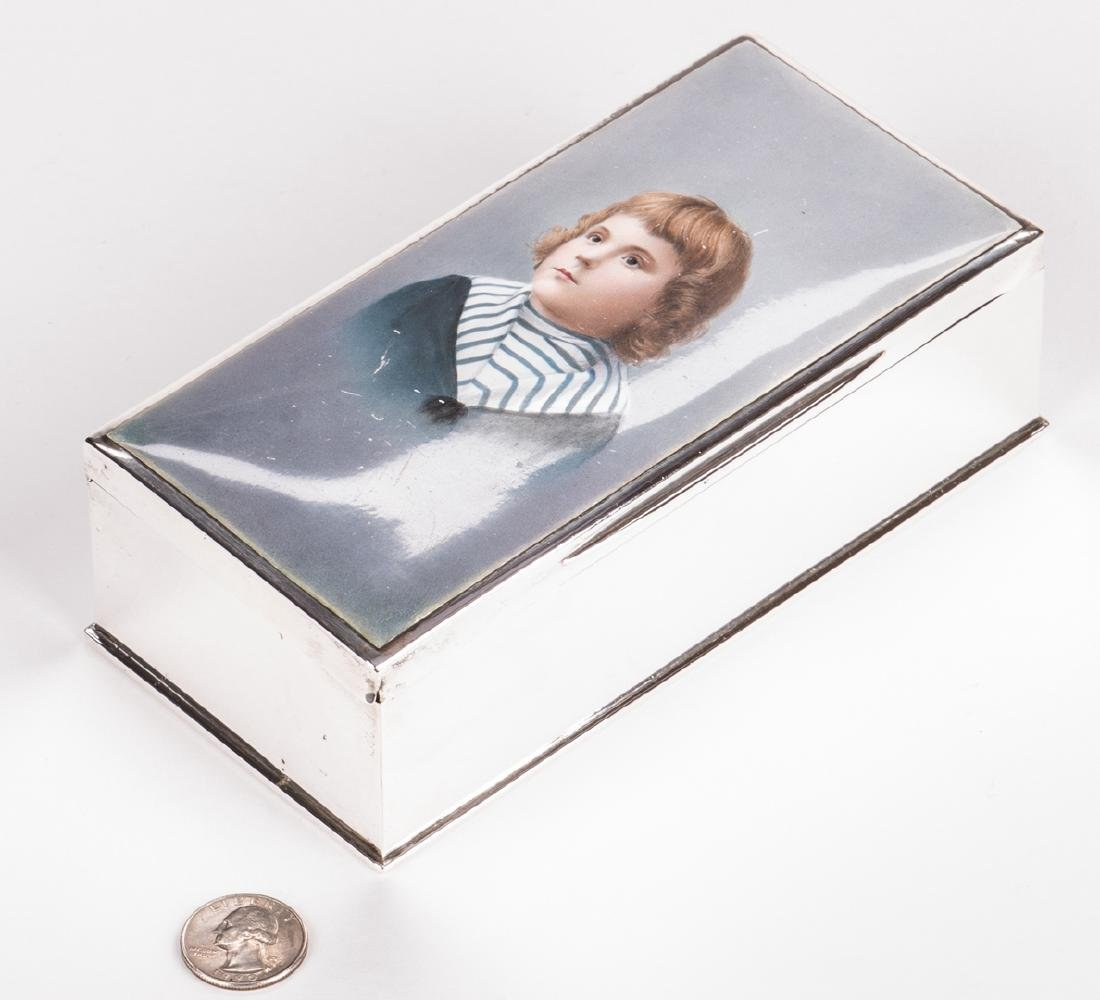 Sterling and Porcelain Child Portrait Box - 8