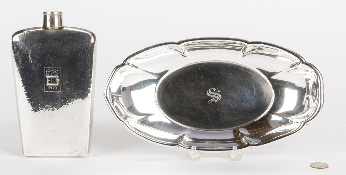 Sterling Flask and Bread Tray - 2 pcs - 2