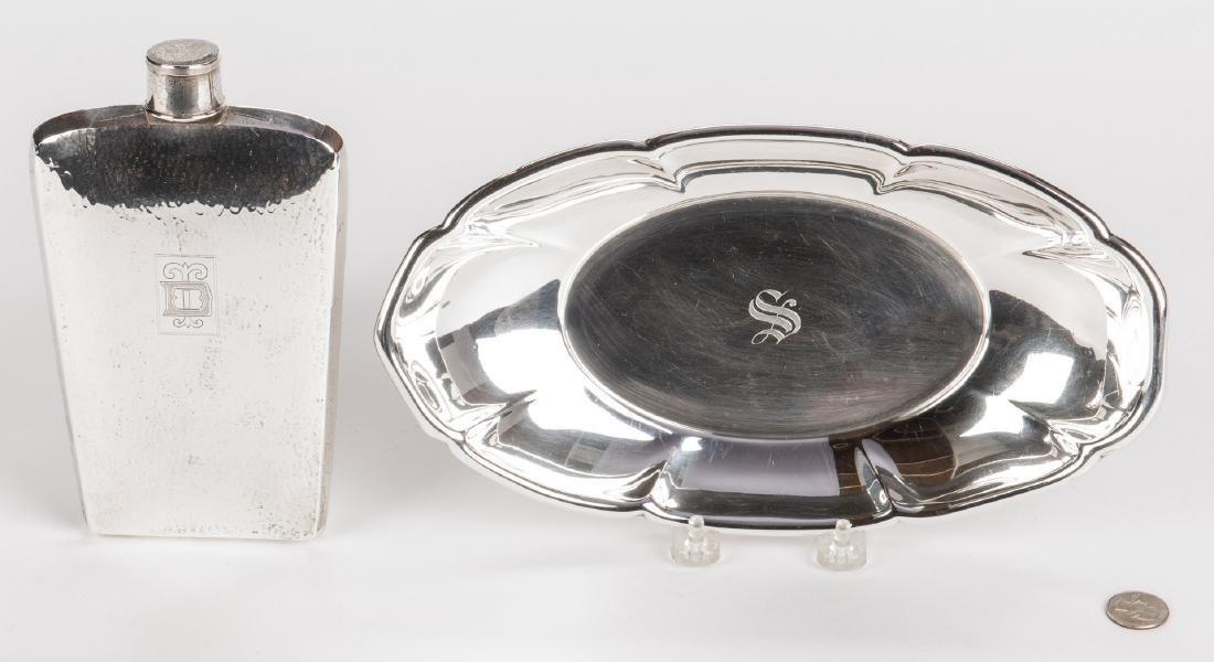 Sterling Flask and Bread Tray - 2 pcs - 5