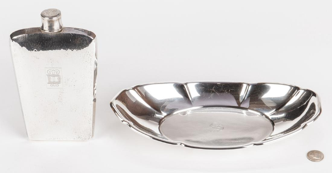 Sterling Flask and Bread Tray - 2 pcs - 9