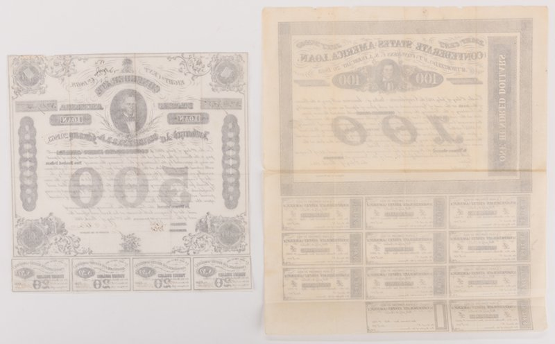 Grouping of 3 Confederate Bonds & 1 SC Bond Note, 4 - 10