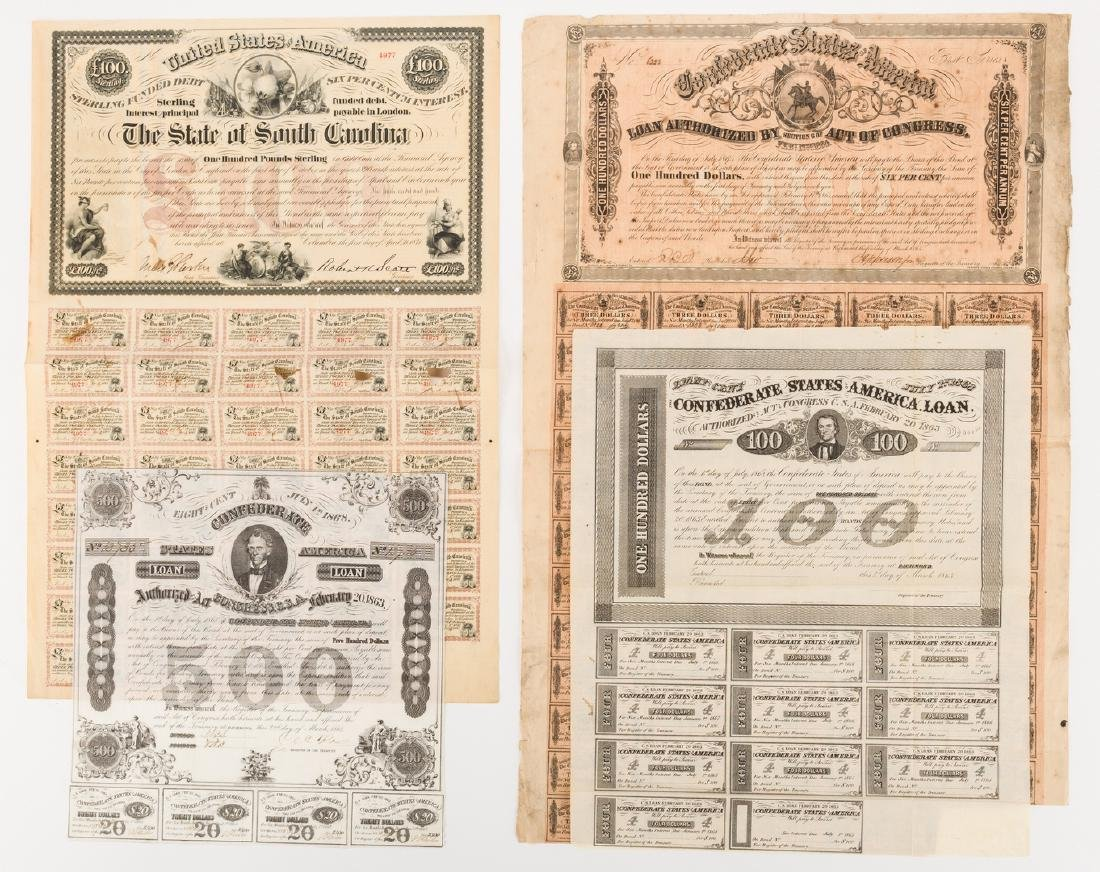 Grouping of 3 Confederate Bonds & 1 SC Bond Note, 4