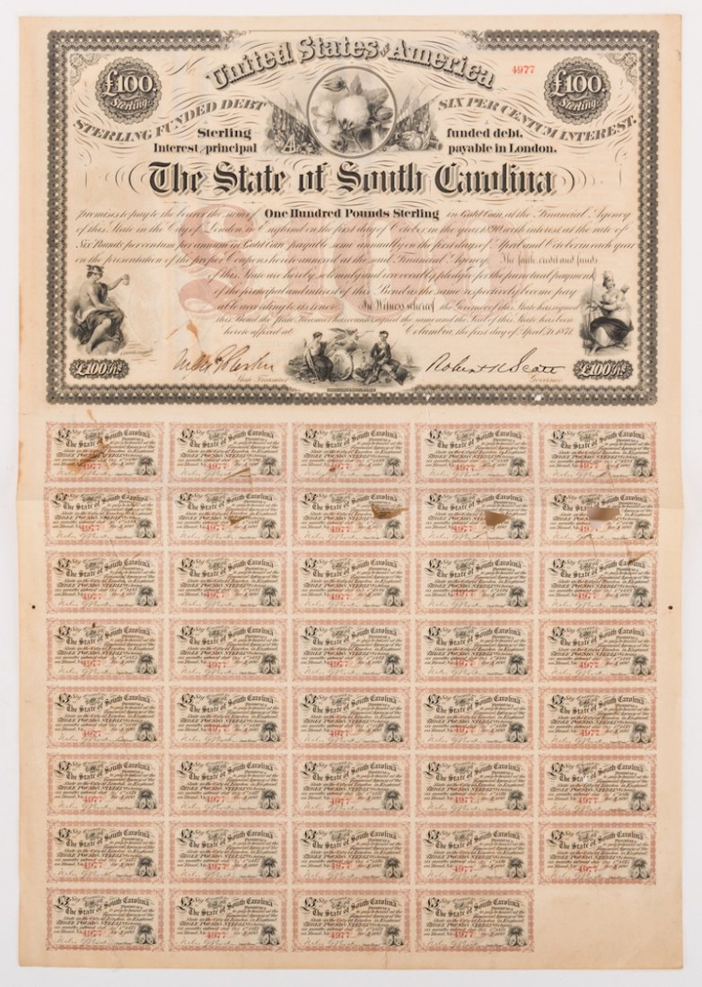 Grouping of 3 Confederate Bonds & 1 SC Bond Note, 4 - 3