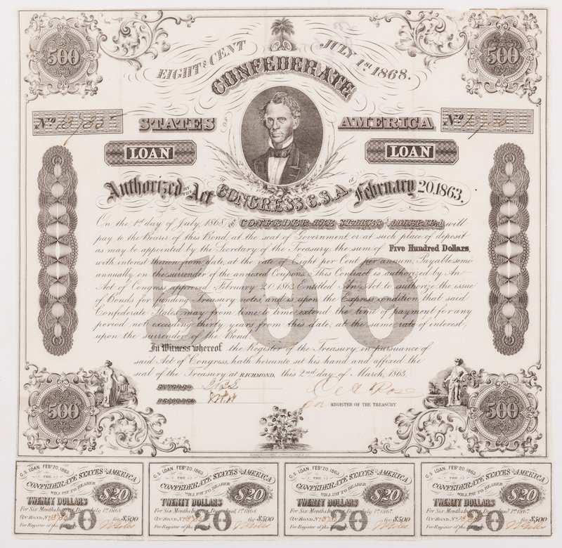 Grouping of 3 Confederate Bonds & 1 SC Bond Note, 4 - 4