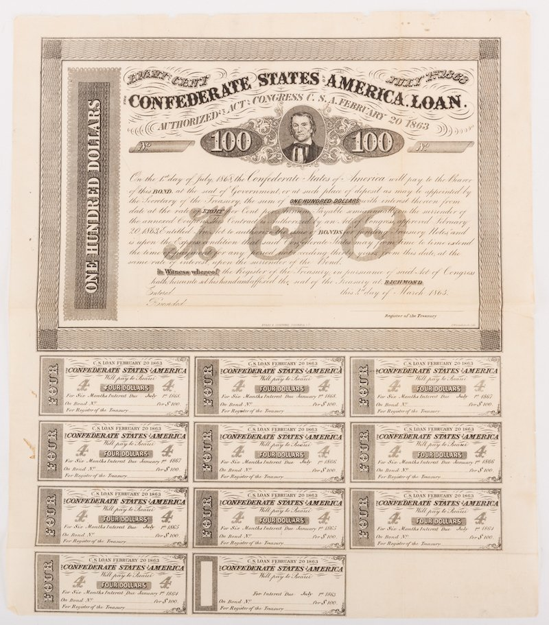 Grouping of 3 Confederate Bonds & 1 SC Bond Note, 4 - 5