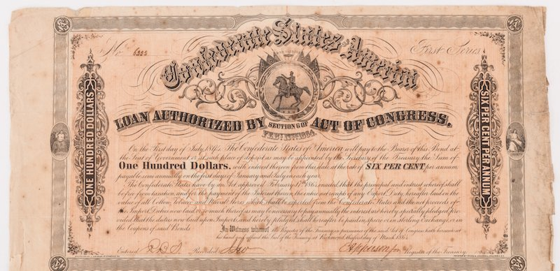 Grouping of 3 Confederate Bonds & 1 SC Bond Note, 4 - 6