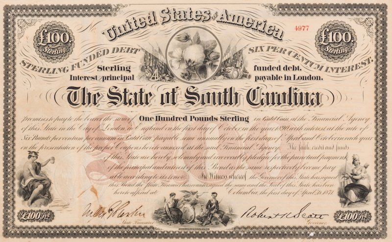 Grouping of 3 Confederate Bonds & 1 SC Bond Note, 4 - 7