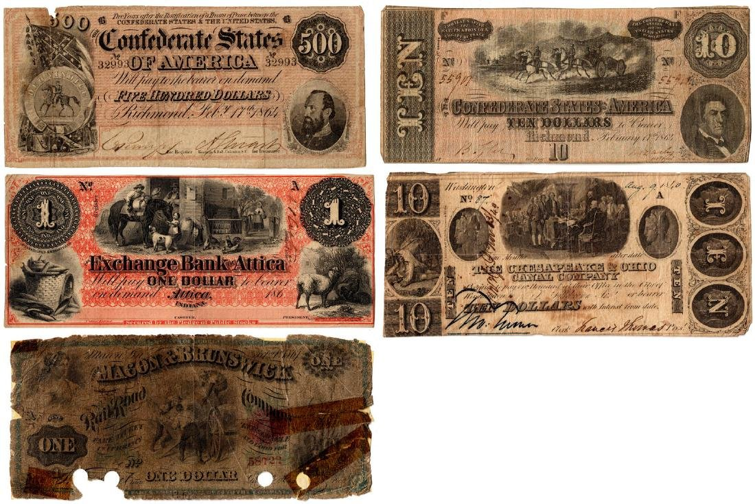 2 Confederate & 3 Obsolete Banknotes
