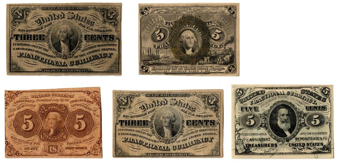 Group Of Five U.S. Fractional Banknotes