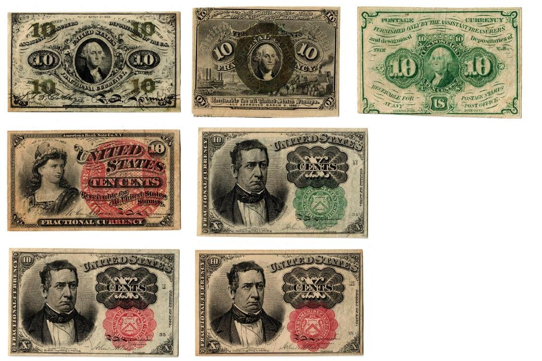 Group Of Seven 10 Cent  U.S. Fractional Banknotes